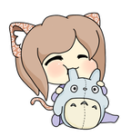 Lily nomming Totoro by SteffieSilva