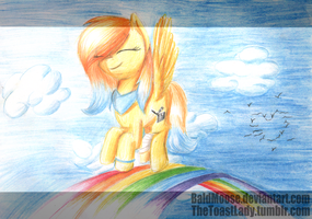 Yellow notsofluffy pegasi dancing on a rainbow...? by BaldMoose