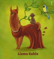Daily Llama Project - Llama Kahlo by TrollGirl