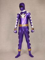 Purple And White Shiny Metallic Zentai Suit by lilaliu