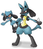 Lucario and Riolu by Jamesu-kun