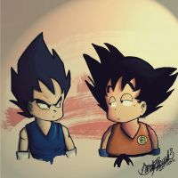 Vegeta and Goku by FallenDaw