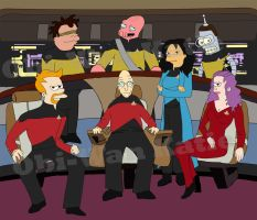 Futurama on the Enterprise by obiwankatie