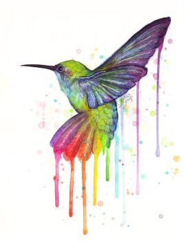 Hummingbird Watercolor Painting by Olechka01