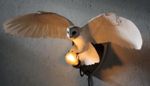 Handmade paper and wood Owl wall light by ZackMclaughlin