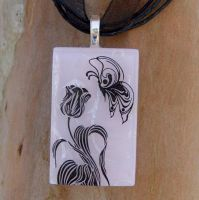 Butterfly's Tulip Fused Glass by FusedElegance