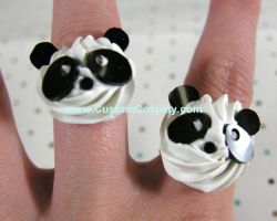 Panda swirl rings by The-Cute-Storm