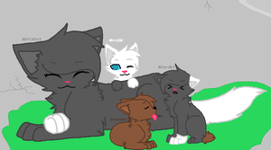 Whitefoot and her kits by babybunny80