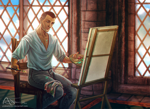 Commission - Painting in Skyhold by undeadsiren