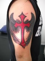 Dark and Light Winged Cross by Lucky-Cat-Tattoo