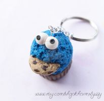 Kawaii Cookie Monster Polymer Clay Cupcake Keychai by CharmsByIzzy