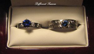 Sapphire and Palladium Rings by jessa1155
