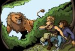 Claire and Tracy Encounter a Lion by KelciD