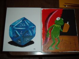 D20 and Kermit the Frog paintings by PlummyPress
