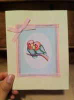 Lovebirds Card- Pink Plaid by PinkBunnie