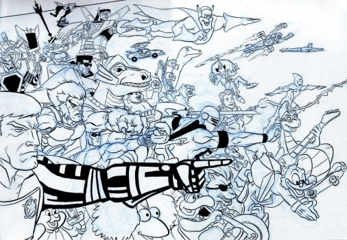 80s Cartoons ASSEMBLE inks by BloodySamoan