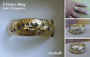 9 Fishes Ring by GeshaR