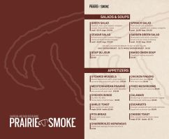 menu for prairie smoke by sounddecor