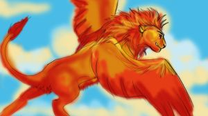 winged lion by dyb