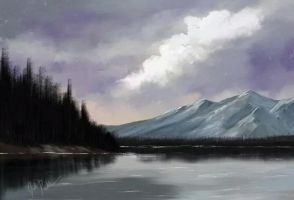 Lakeside Mountains, Bob Ross Style (artrage) by joshrosenbohm