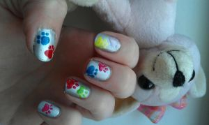 dog paws nail art by ras-blackfire