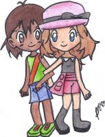 Young Ash and Serena by The-P3nguin