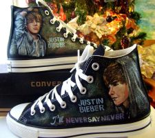 Never Say Never JB on Converse by alcat2021