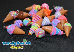 Polymer Clay Ice-Cream Charms by Dabstar