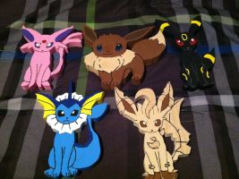 Eevee-Evolution Wooden Figures by daghostz