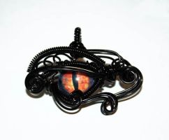 Black Wire Wrap Eye of Sauron Pendant by Create-A-Pendant