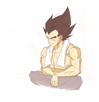 Vegeta Sitting by Ookami8067