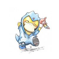 Psyduck in a Golduck onsie by ItsBirdyArt