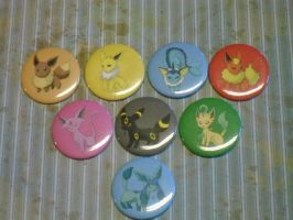 Pokemon Buttons: Eeveelutions For Sale by R3YD1O