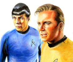 KIRK and SPOCK for now by Emushi