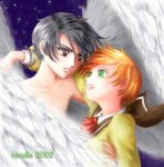 Van and Hitomi of Escaflowne by coriolix