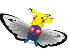 Pikachu and Butterfree by Master09