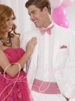 Awesome white with pink wedding suit by mensusasuits