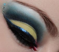 Intense Yellow and Navy Cut Crease Makeup by Luhivy