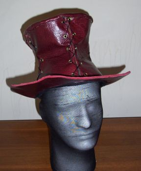 Leather tophat by waywarddreams