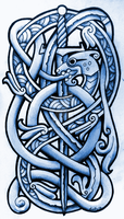 Sea Serpent and Broadsword by Tattoo-Design