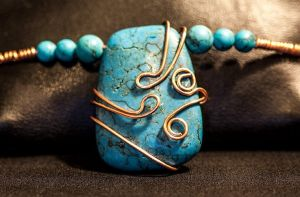 Copper-Wrapped Turquoise by JeraCreations