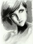 graphite and ink portrait by peter-san