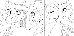 Equestria Royalty LineArt by The0ne-u-lost