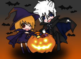 .: Happy Chibi Halloween :. by Never-Forget-Me-Not
