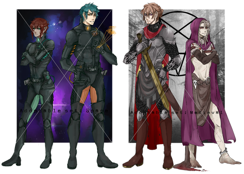 (CLOSED) ADOPTABLES:: Medieval + Space couple by Cyberised