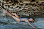 Maria - grey swimsuit in cave 1 by wildplaces