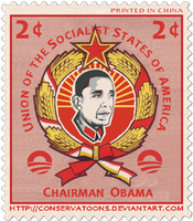 Chairman Obama stamp. by Conservatoons
