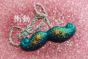 Gold and Dark Turquoise Mustache by shoudoumagic