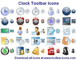 Clock Toolbar Icons by Ikonod