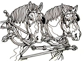 Draft Horses Line Art by sammo371